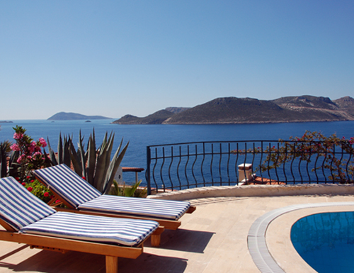 Photo: View towards the Greek Island Meis (Kastellorizo) from the Pool of Villa Yakomoz, rental seafront Holiday Home with Pool for 2-4 People in Kas (Province Antalya) at the Lycian Coast of Turkey