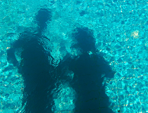 Photo: Shadows in the Pool of Villa Yakomoz, rental seafront Holiday Home with Pool for 2-4 people in Kas (Province Antalya) at the Lycian Coast of Turkey