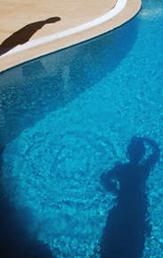 Photo: Shadows in the Pool of Villa Yakomoz, rental seafront Holiday Home for 2-4 People in Kas (Province Antalya) at the Lycian Coast of Turkey