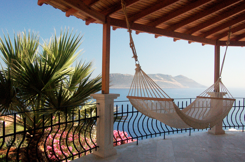 Photo: Veranda of Villa Yakomoz, rental seafront Holiday Home with Pool for 2-6 people in Kas / Antalya at the Lycian Coast of Turkey (Mediterranean)
