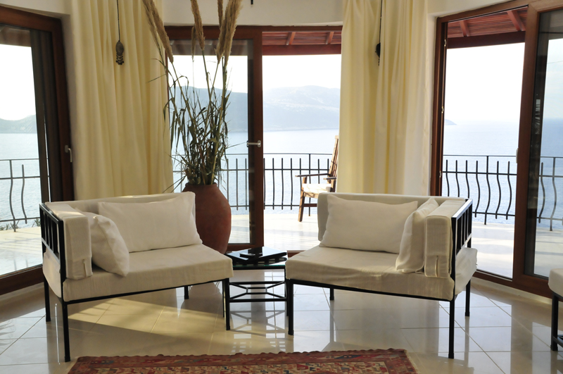 Photo:  Livingroom of Villa Yakomoz, rental seafront Holiday Home with Pool for 2-6 people in Kas (Province Antalya) at the Lycian Coast of Turkey